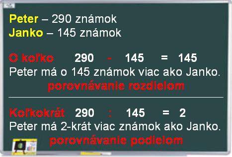 Tabuľa, na ktorej je zapísané porovnanie rozdielom a podielom.