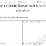 Viackrokové riešenie lineárnych rovníc - pracovné listy